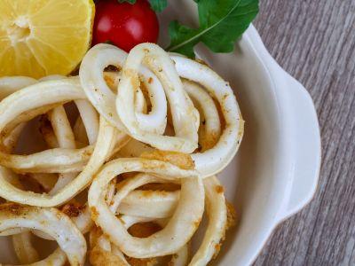 Кольца кальмаров со сладкими перцами