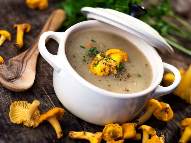 Суп из лисичек с плавленым сыром